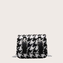 Mini Houndstooth Chain Crossbody Bag