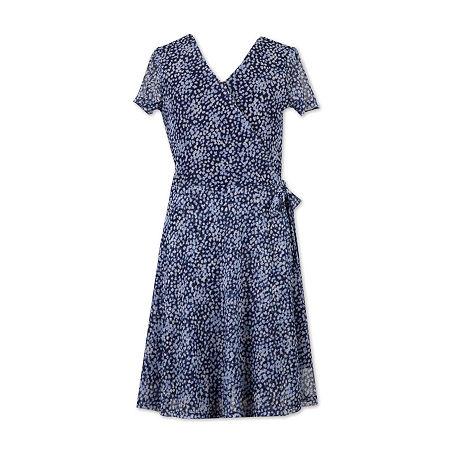 Speechless Big Girls Short Sleeve Wrap Dress, 14 , Blue