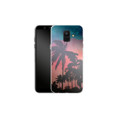 Samsung Galaxy A6 Silikon Handyhuelle - Palm Trees at Sunset von Mark Ashkenazi