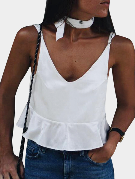 Yoins V-neck Flounce Hem Cami Top in White