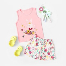 Toddler Girls Rabbit & Floral Print Pajama Set
