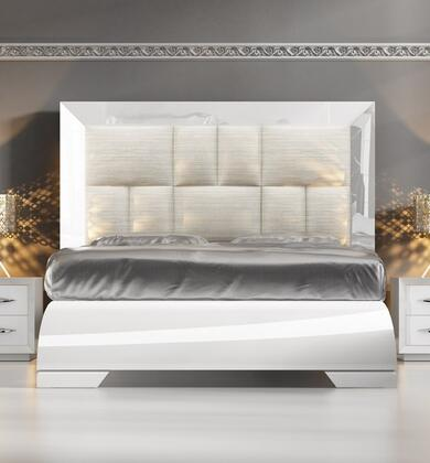 Carmen CARMENBEDKSWHITE 88 King Size Bed with Wooden Slat Frame Included  High Headboard  Eco-Leather and Bengal Fabric Upholstery in White