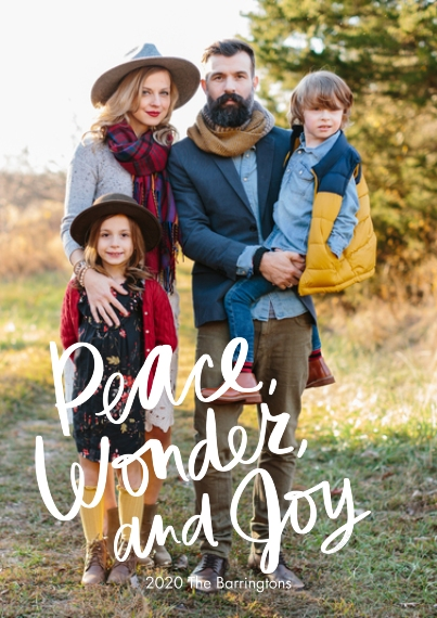 Christmas Photo Cards 5x7 Cards, Standard Cardstock 85lb, Card & Stationery -Peace, Wonder, and Joy Photo Card by Hallmark
