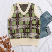 Plaid Pattern Sweater Vest
