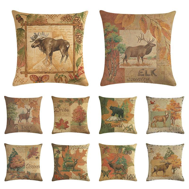 Vintage Deer Elk Wild Animals Linen Cushion Cover Home Sofa Art Decor Office Seat Throw Pillow Cover