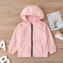 Toddler Girls Letter Graphic Zipper Up Hooded Windbreaker Jacket