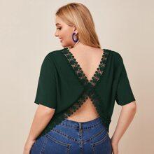 Blusas Extra Grandes Encaje en contraste Liso Verde Oscuro Sexy