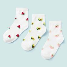 Watermelon & Peach Pattern Ankle Socks 3pairs