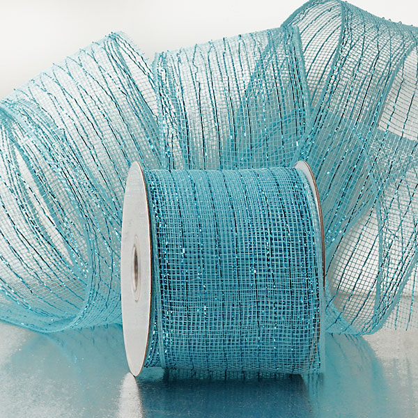 4 X 20 Yards Colored Light Blue Deco Mesh W/Metallic Stripes by Ribbons.com