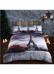 Paris Eiffel Tower and Vintage Car Printed Cotton 3D 4-Piece Bedding Sets