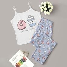 Cartoon & Letter Print Cami Pajama Set