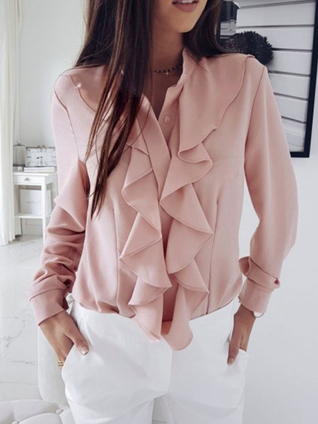 Milanoo Women Pink Blouse Chiffon Cascading Ruffles Jewel Neck Long Sleeves Casual Shirt