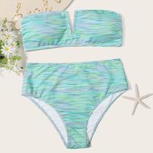 Bandeau Bikini Badekleidung mit Grafik, V Ausschnitt und hoher Taille
