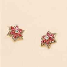 Rhinestone Floral Stud Earrings