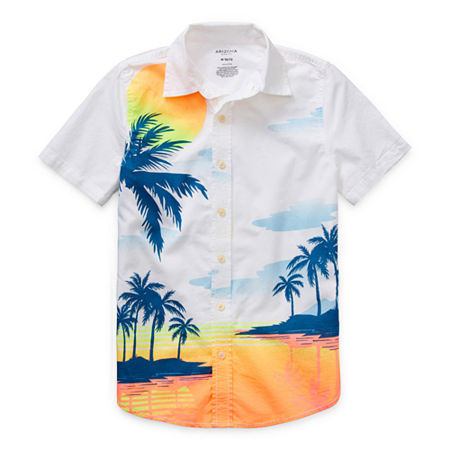 Arizona Little & Big Boys Short Sleeve Button-Down Shirt, Large (14-16) , White