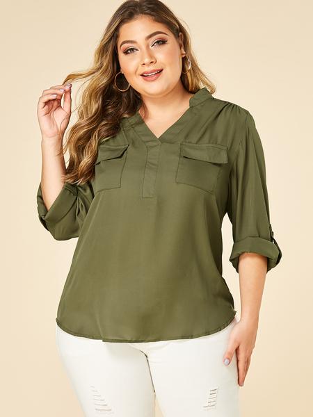 Yoins Plus Size Army Green Pocket Design Blouse