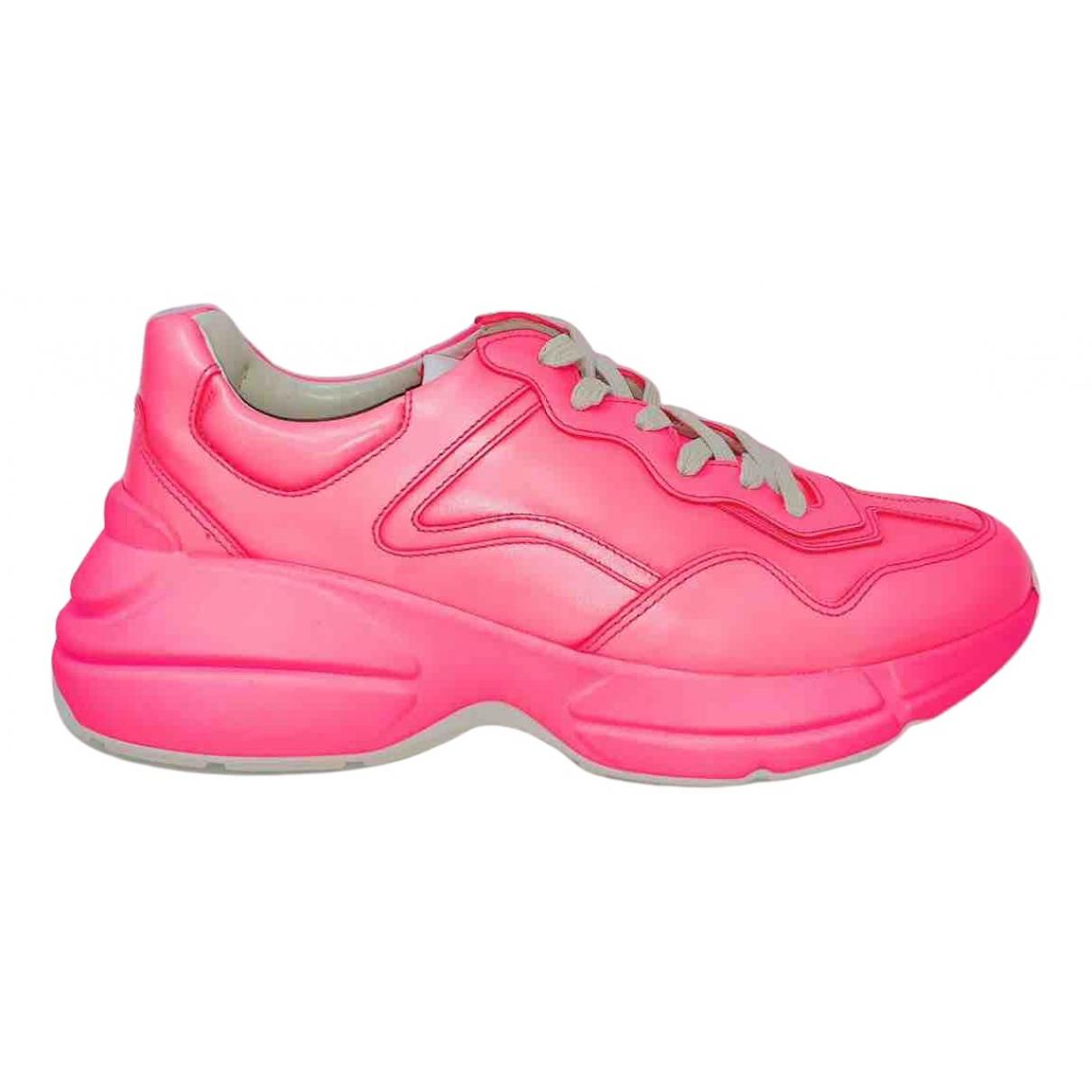 Gucci - Baskets Rhyton pour homme en cuir - rose