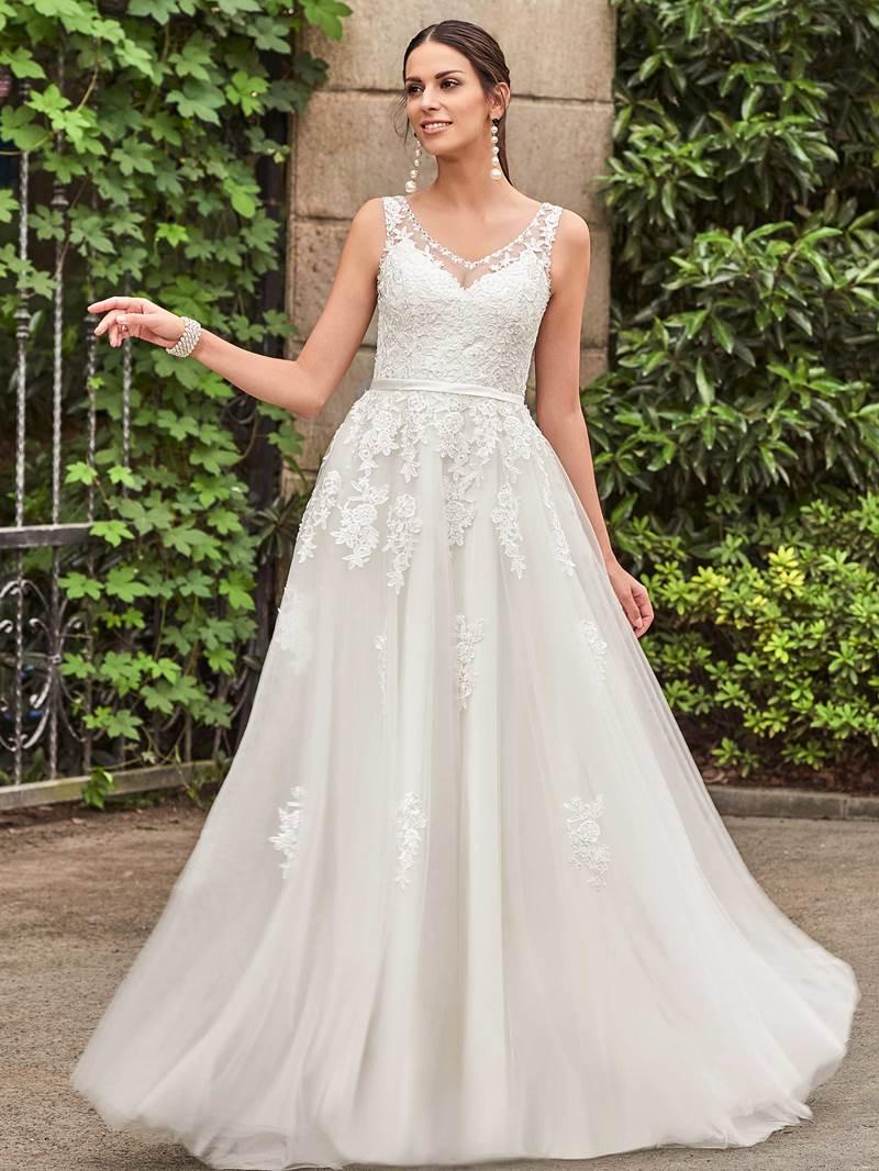 Ericdress Beading V Neck Appliques Garden Wedding Dress