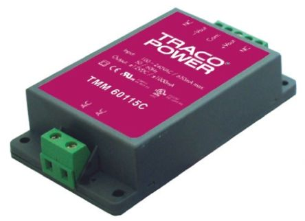 TRACOPOWER , 60W Embedded Switch Mode Power Supply SMPS, 24V dc, Encapsulated, Medical Approved