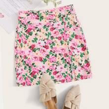 Plus Zip Side Slit Hem Floral Skirt