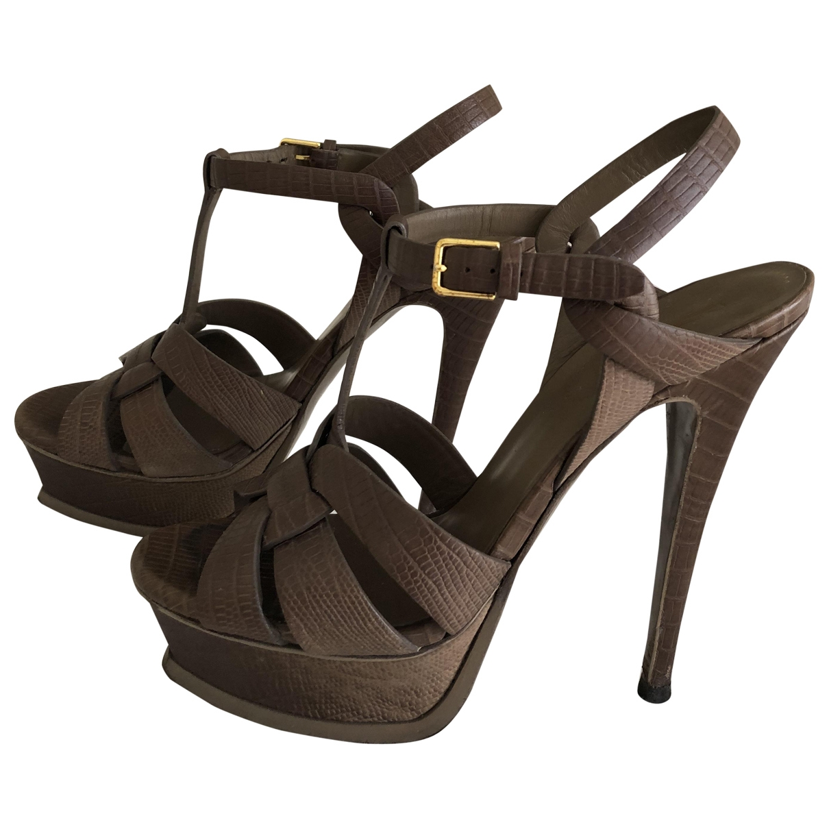 Yves Saint Laurent Tribute Sandalen in  Braun Leder