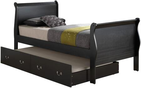 Louis Phillipe Collection G3150G-TTB Twin Size Bed with Twin Size Trundle Included  Metal Hardware  Sleigh Headboard  Real Wood Veneer and Solid Wood