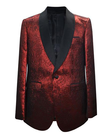 Men's 1 Button Matching Fashion Bow Tie Shawl Lapel Red