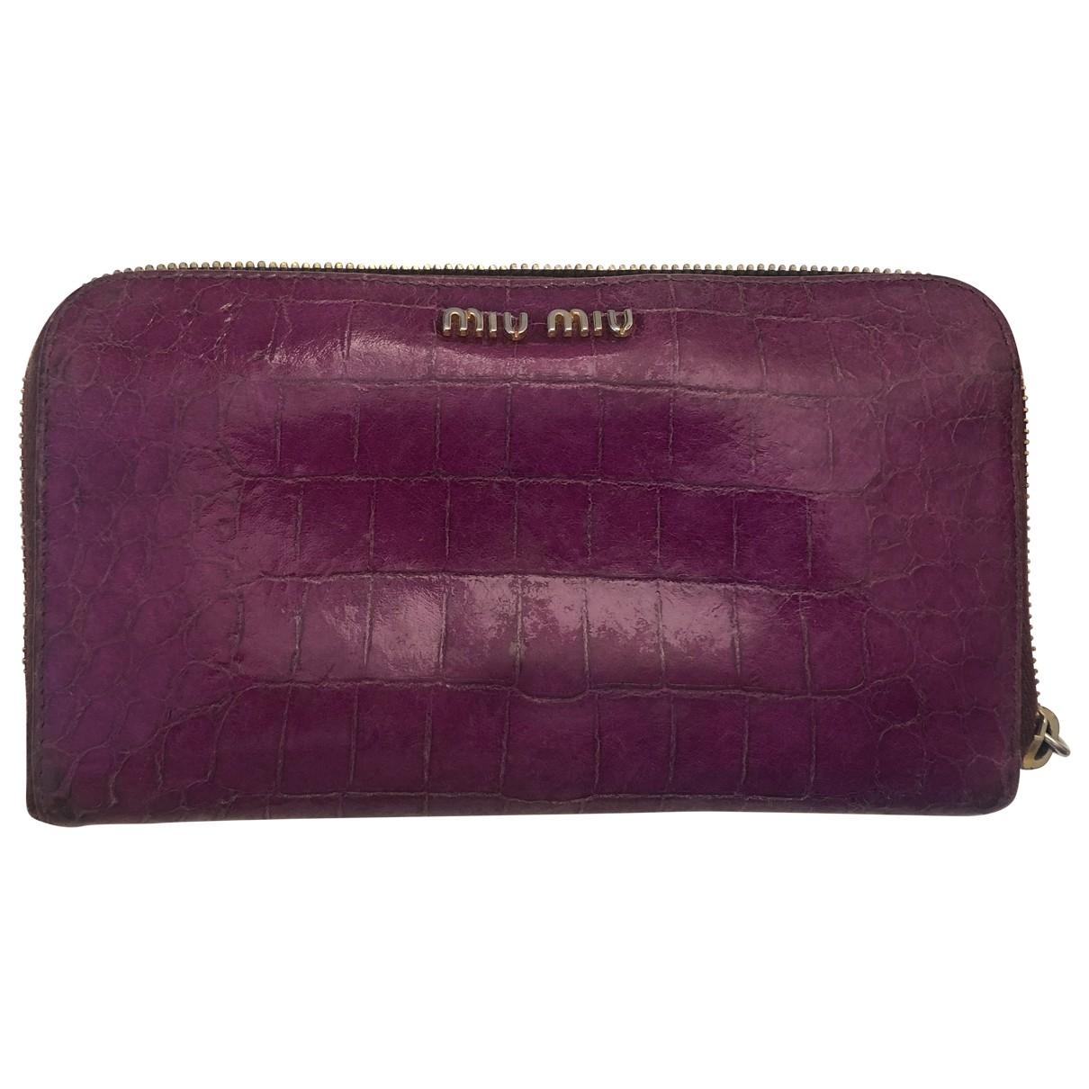 Miu Miu \N Portemonnaie in  Lila Leder