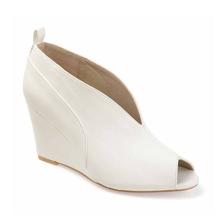 Journee Collection Womens Calista Pumps Wedge Heel, 6 Medium, White