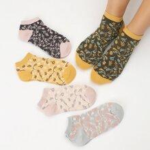 5 Paare Socken mit Blatt Muster
