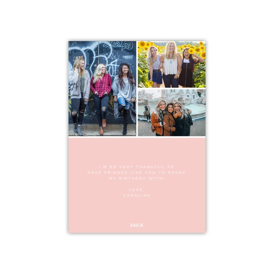 20 Pack of Kikki. k Personalized Solid Color Birthday Thank You Card in Blush | 5