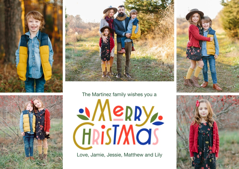 Christmas Photo Cards 5x7 Cards, Premium Cardstock 120lb with Rounded Corners, Card & Stationery -Colorful Christmas Collage by Hallmark