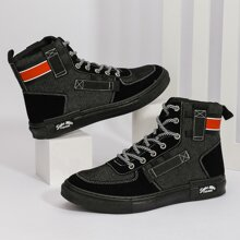 Men Lace-up Front Colorblock Sneakers