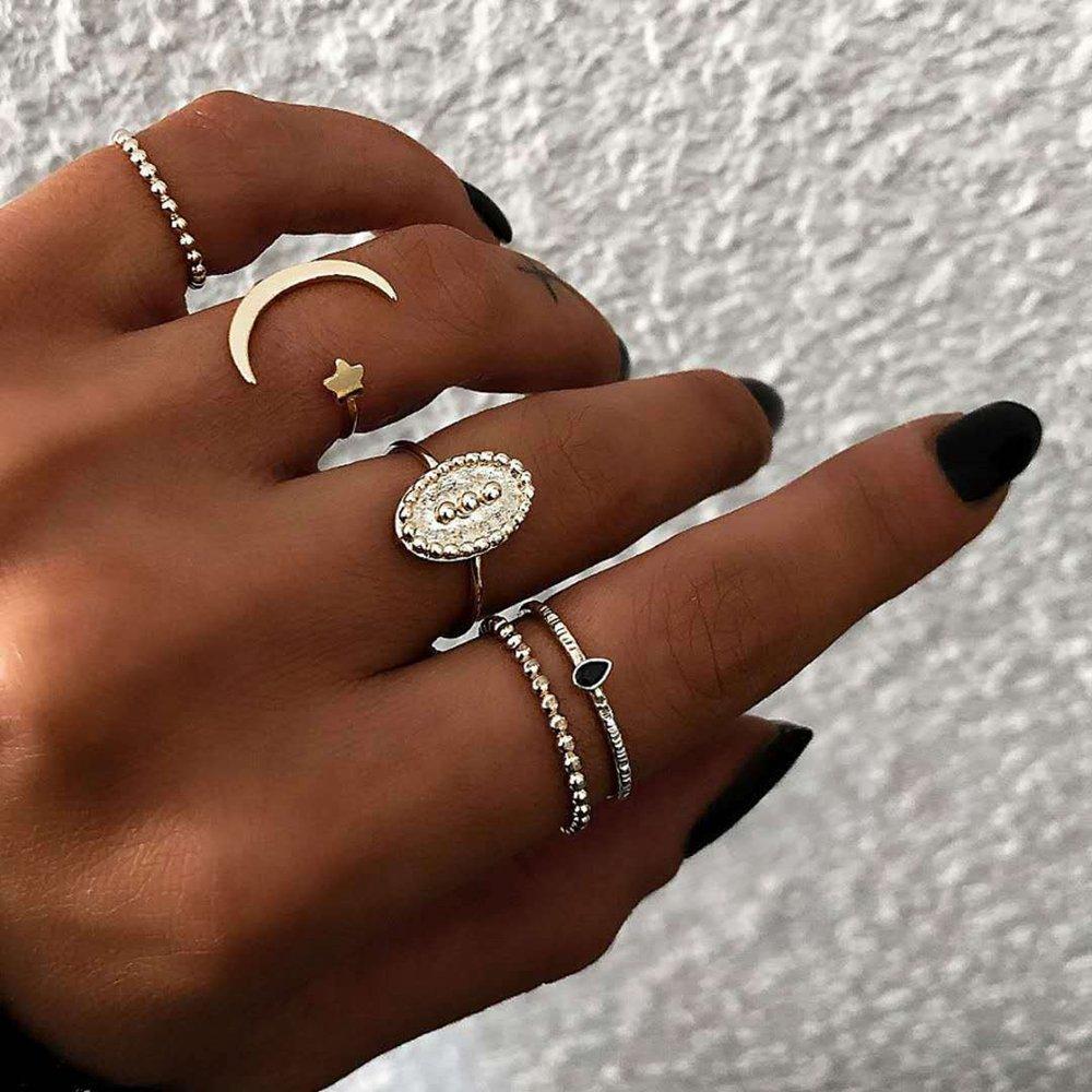 Bohemian Finger Rings Set 5PCS Moon Star Open Close Rings Fashion Jewelry for Women