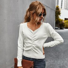 Sweetheart Neck Button Front Puff Sleeve Sweater