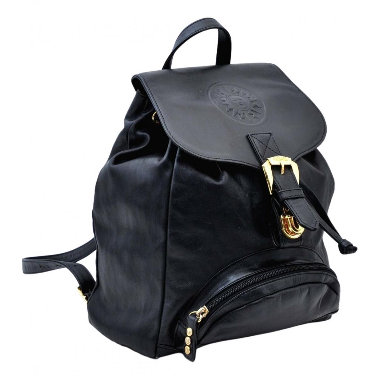 Versace - Sac a dos   pour femme en cuir - noir