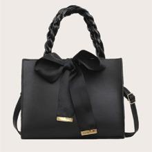 Bow Decor Braided Handle Satchel Bag