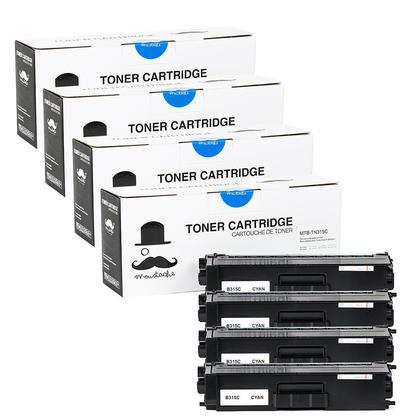 Compatible Brother TN315C cartouche de toner cyan haute capacite - Moustache@ - 4/paquet