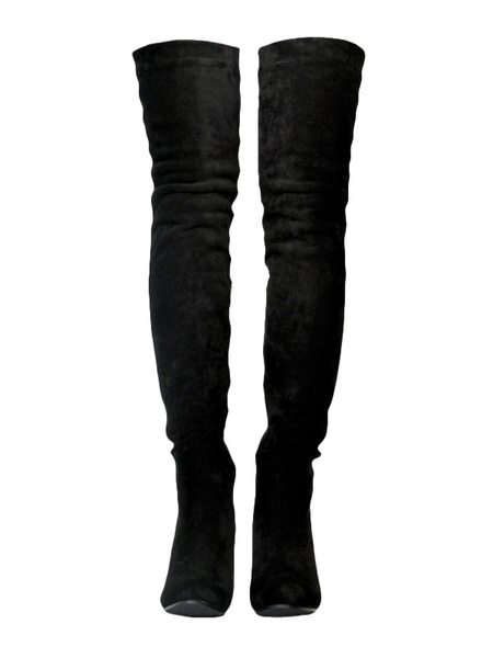 Milanoo Thigh High Boots Womens Velvet Round Toe Chunky Heel Over The Knee Boots
