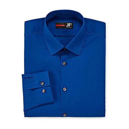 JF J.Ferrar Easy- Care Stretch Mens Long Sleeve Dress Shirt, 17-17.5 32-33, Blue