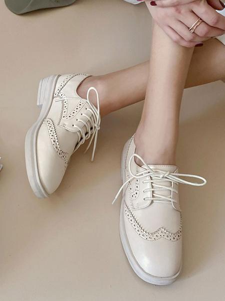 Milanoo Zapatos casuales con cordones de cuero PU con punta redonda para mujer de color marron