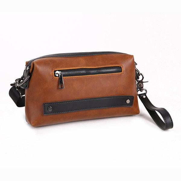 Waterproof PU Leather Clutch Bag Casual Vintage Shoulder Crossbody Bag For Men