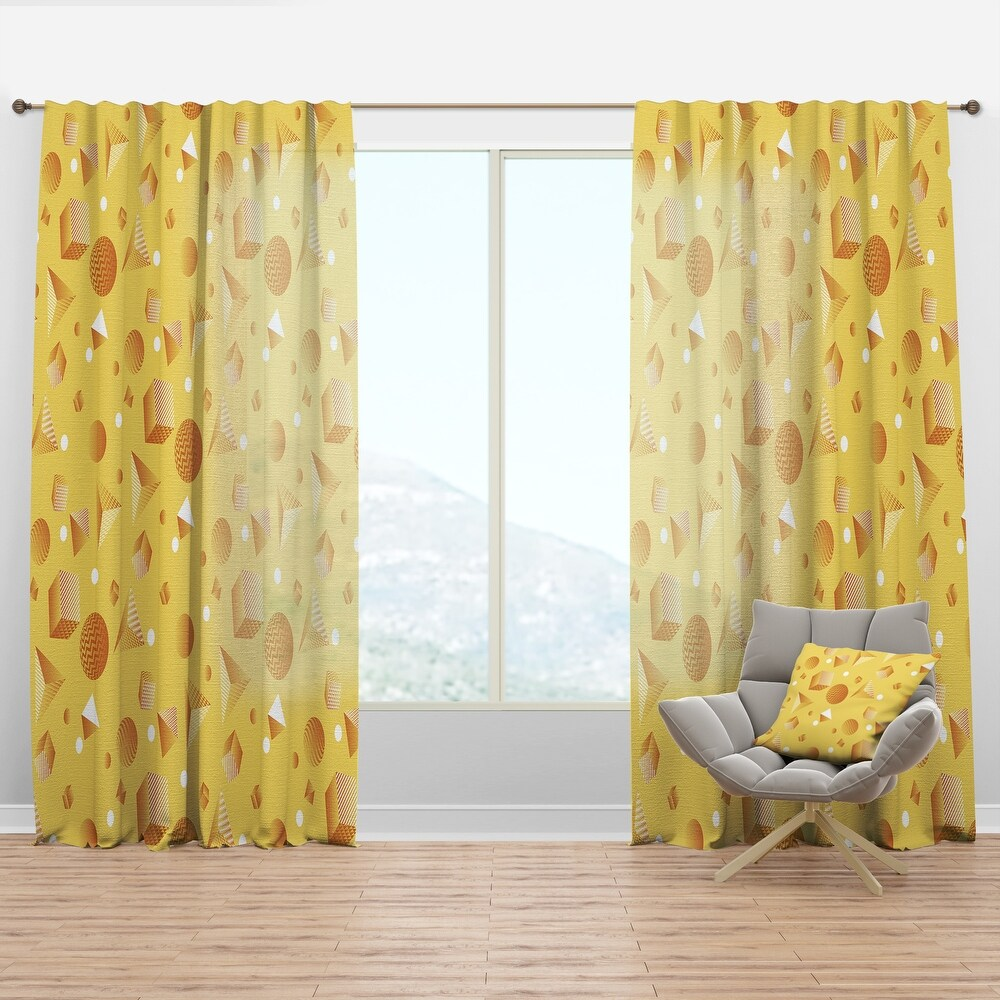 Designart Minimal Yellow Geometrical Shapes Mid-Century Modern Curtain Panel (50 in. wide x 63 in. high - 1 Panel)