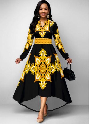 Wedding Guest Dress Tribal Print Long Sleeve High Low Dress - S