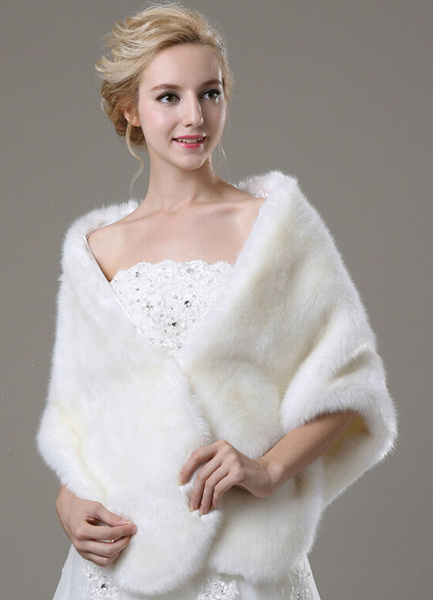 Milanoo Faux Fur Wedding Shawl