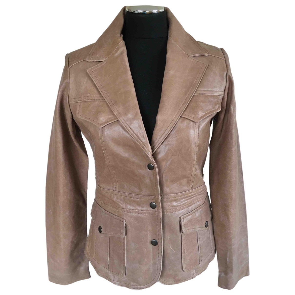 Non Signé / Unsigned \N Camel Leather Leather jacket for Women 38 FR