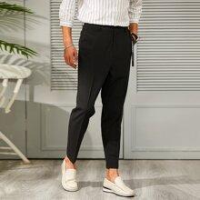 Men Letter Tape Symmetrical Pocket Tailored Pants