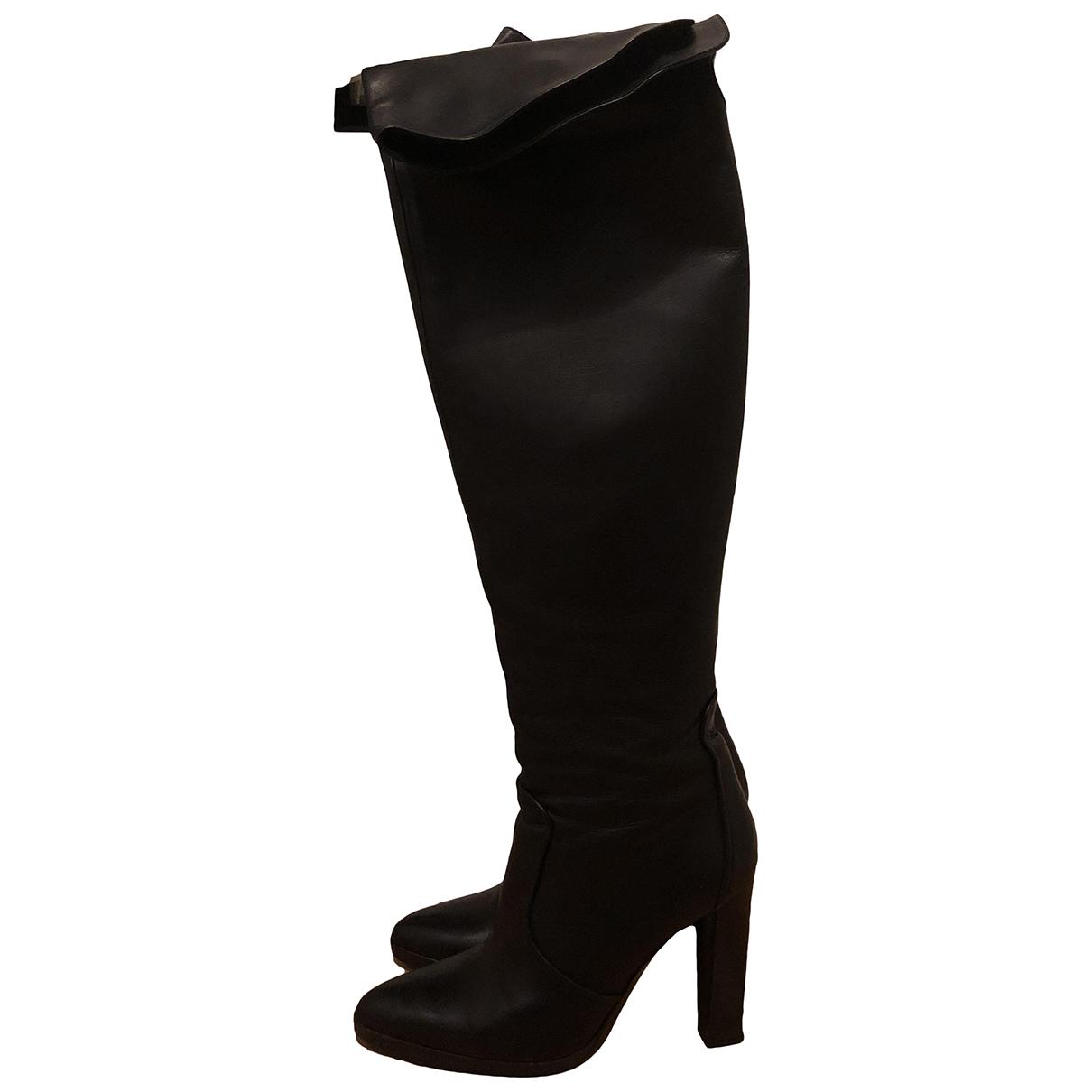 Hermes \N Stiefel in  Schwarz Leder