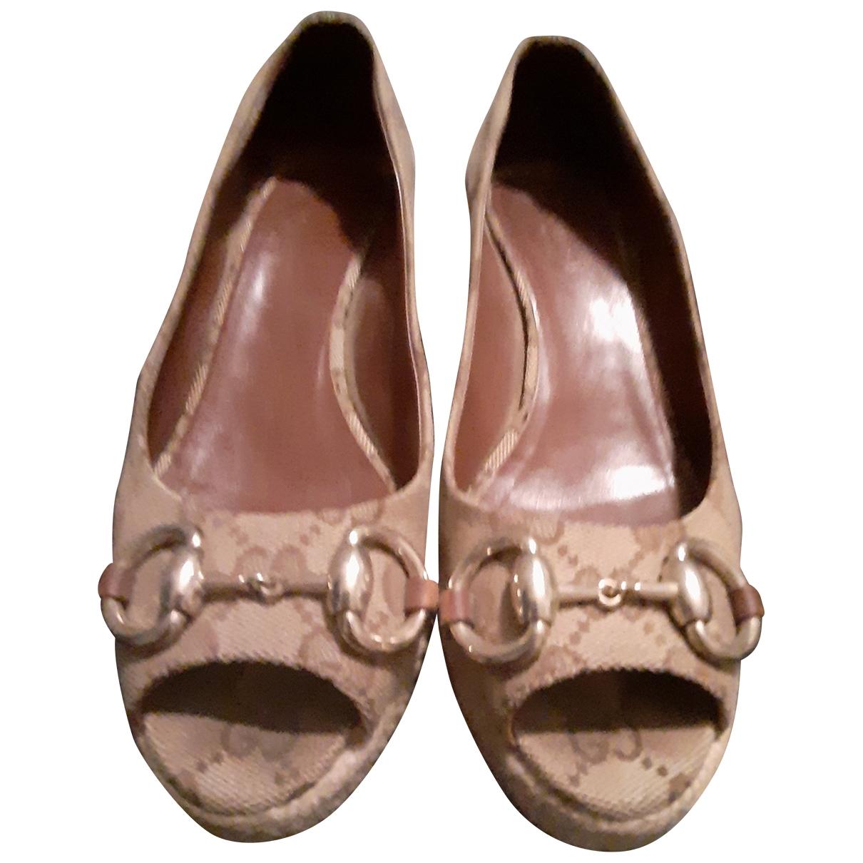 Gucci - Sandales   pour femme en toile - beige