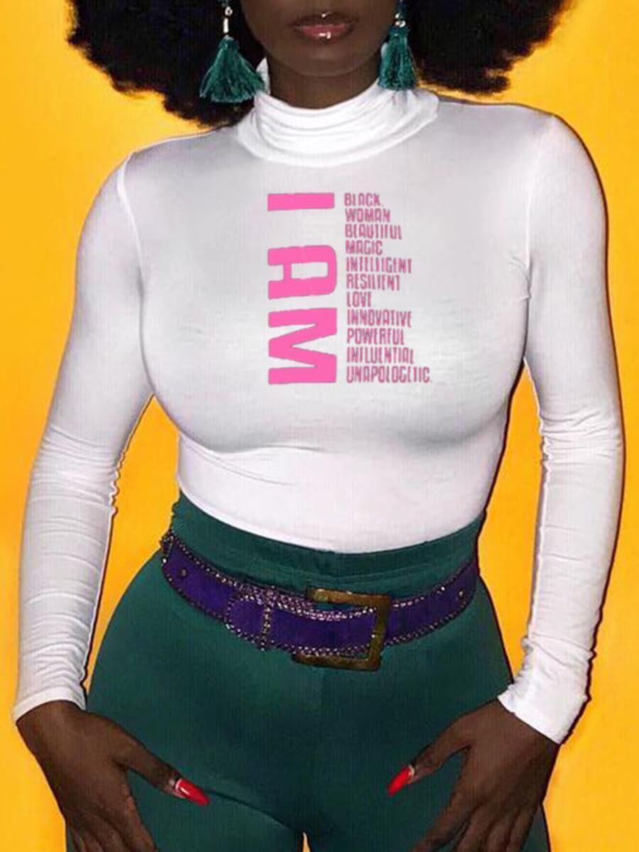 LW Lovely Sweet Half A Turtleneck Letter Print Pink T-shirt
